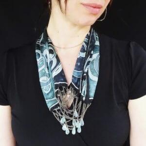 Spiral Silk Necklace Chalcedony