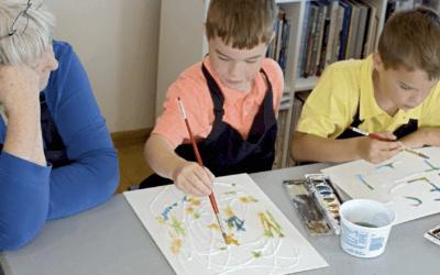 Salt Paintings and Sculpting Playdough at Golden Road Arts
